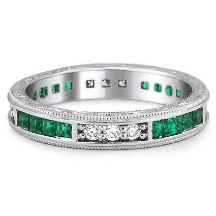 Custom Hand Engraved Emerald Band