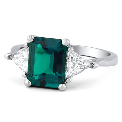 Emerald and Trillion Cut Diamond Ring, top view