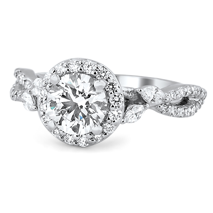 Luxe Halo Willow Diamond Ring, top view