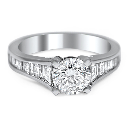 Custom Ring with Tapering Channel-Set Diamond Accents