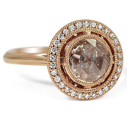 Vintage Inspired Rose Cut Halo Diamond Ring, top view