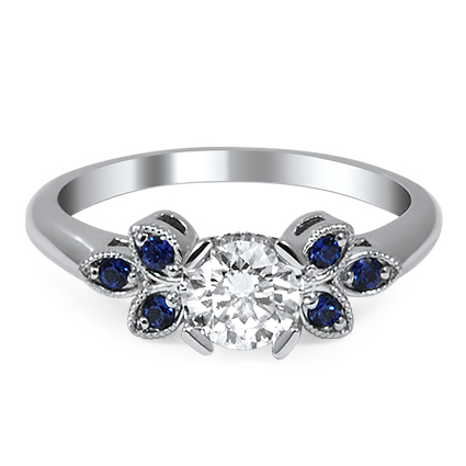Trifoliate Diamond and Sapphire Ring, top view
