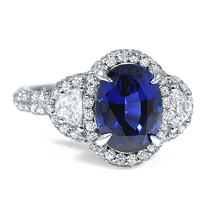 Sapphire Triple Halo Diamond Ring, top view