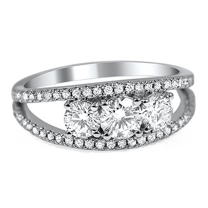 Custom Split Shank Three Diamond Ring
