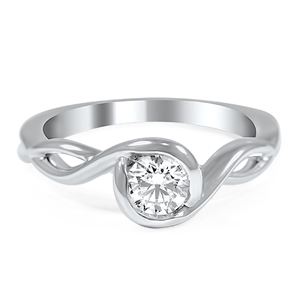 Custom Ellipsis Diamond Solitaire Ring
