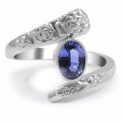 Custom Diamond and Sapphire Ring with Flower Carvings