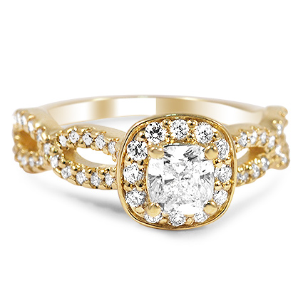 Romantic Infinity Halo Ring, top view