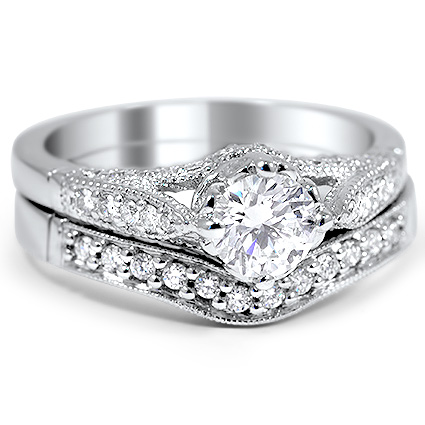 Custom Contoured Heirloom Diamond Bridal Set