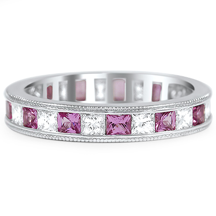 Custom Princess Diamond and Pink Sapphire Eternity Ring