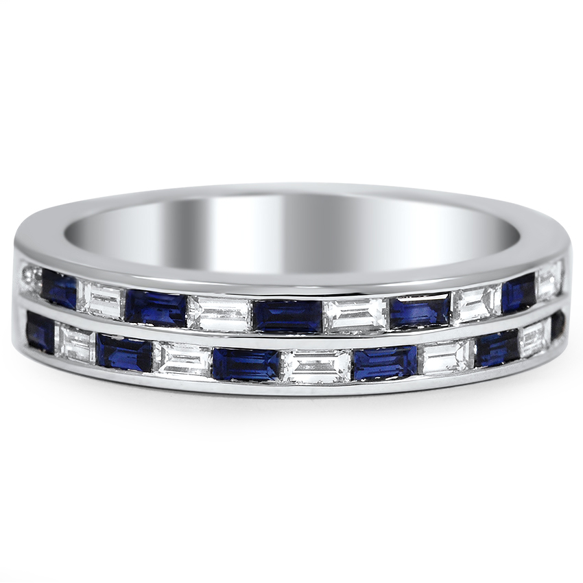 Custom Sapphire and Diamond Baguette Double Wedding Band Brilliant