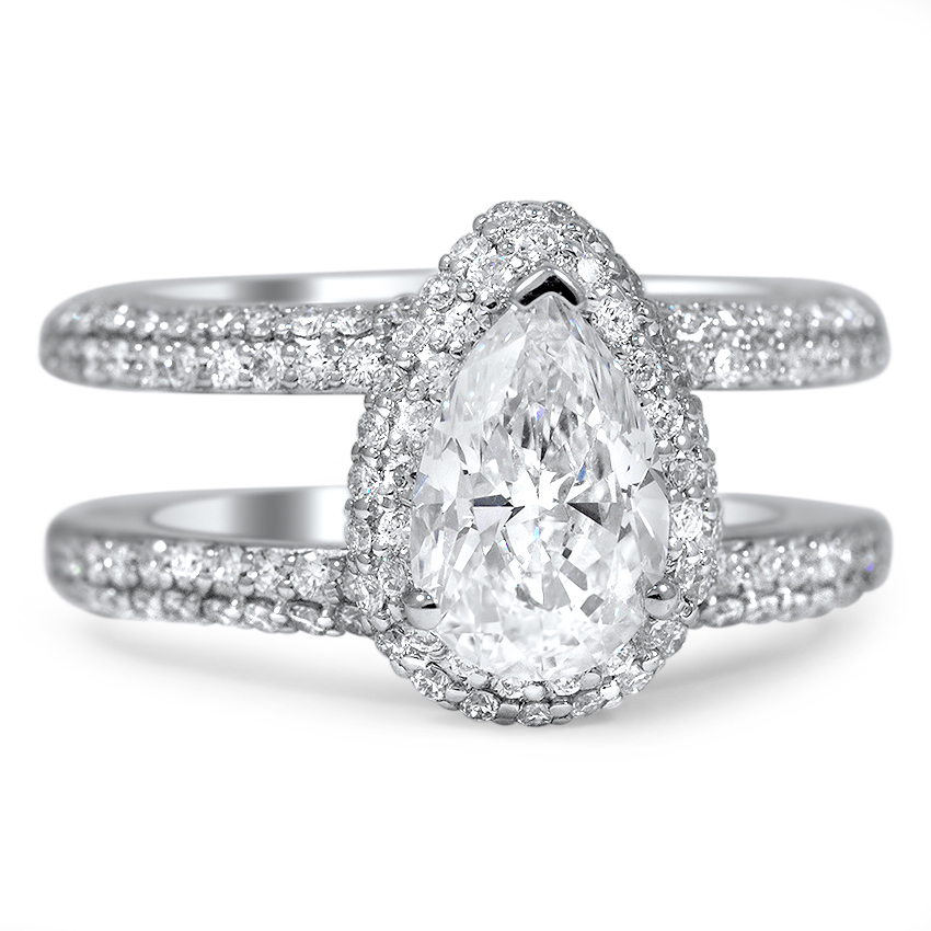 Custom Double Band Pave Halo Diamond Ring