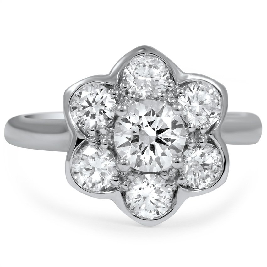 Custom Petal Halo Diamond Ring