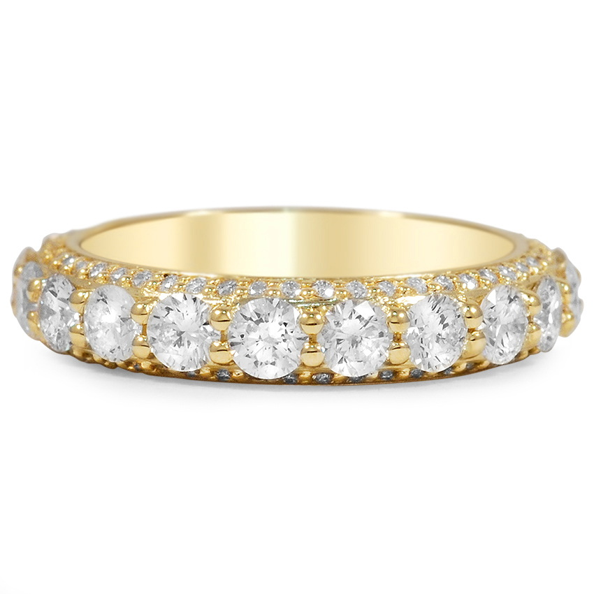 Custom Three-sided Pavé Diamond Eternity Ring