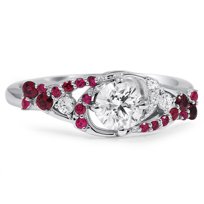 Custom Pinwheel Galaxy Diamond and Ruby Ring