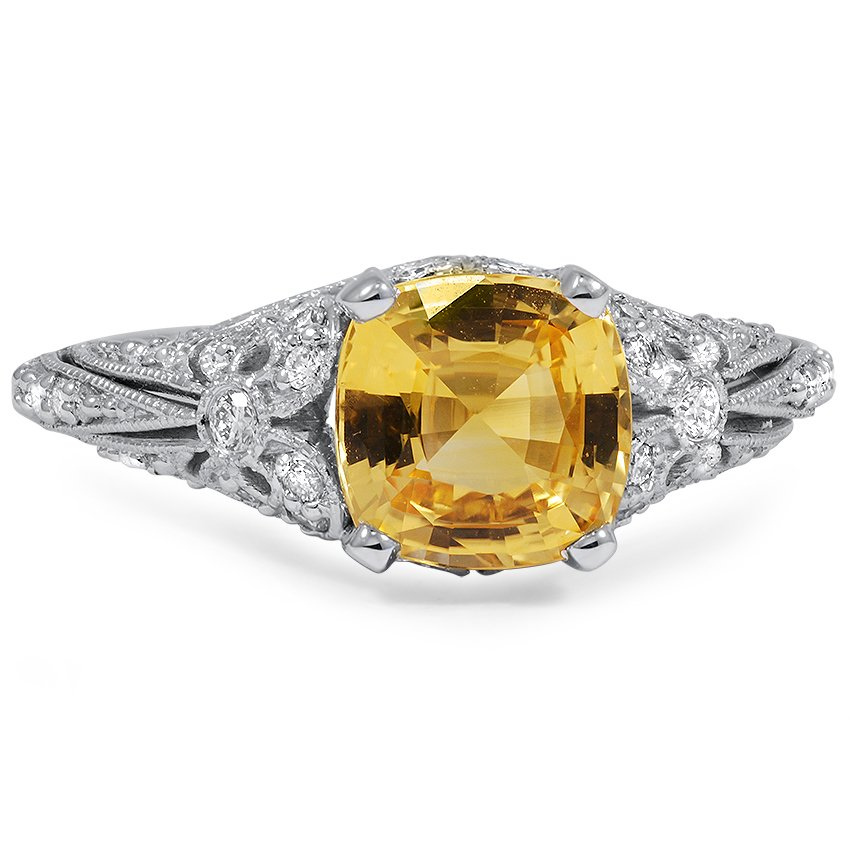 Top Twenty Custom Rings - YELLOW SAPPHIRE ART NOUVEAU RECREATION RING
