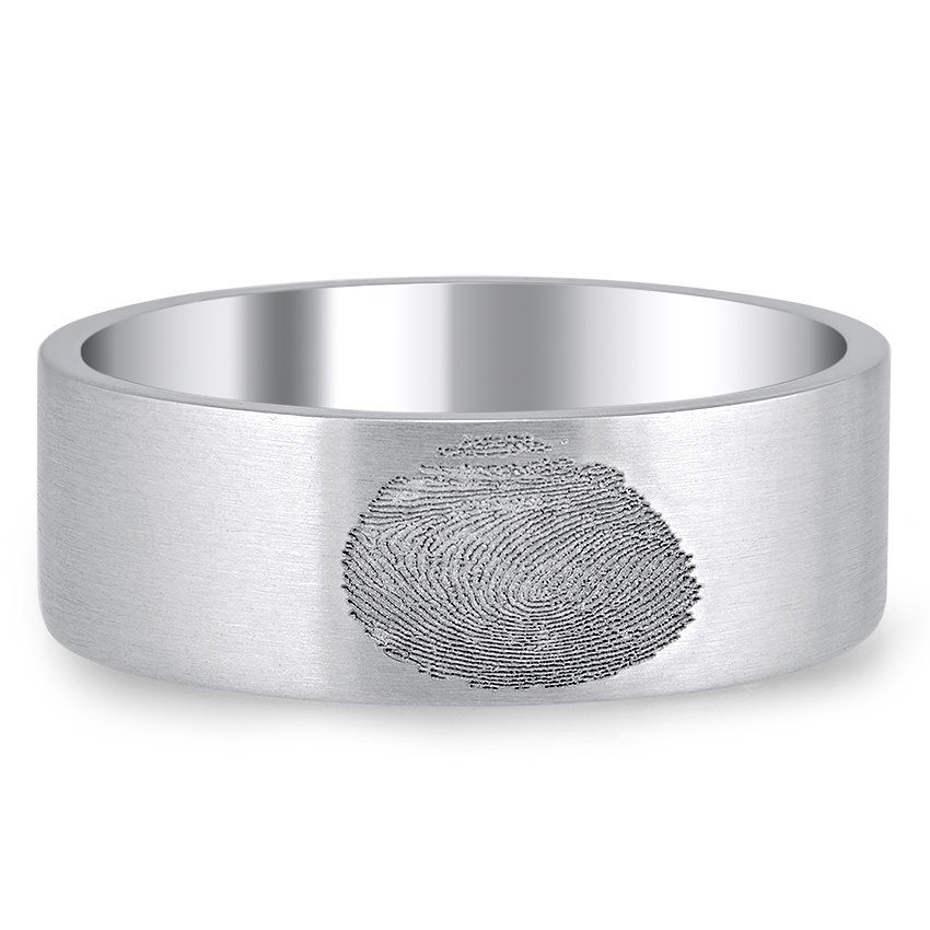 Custom Fingerprint Flat Matte Ring
