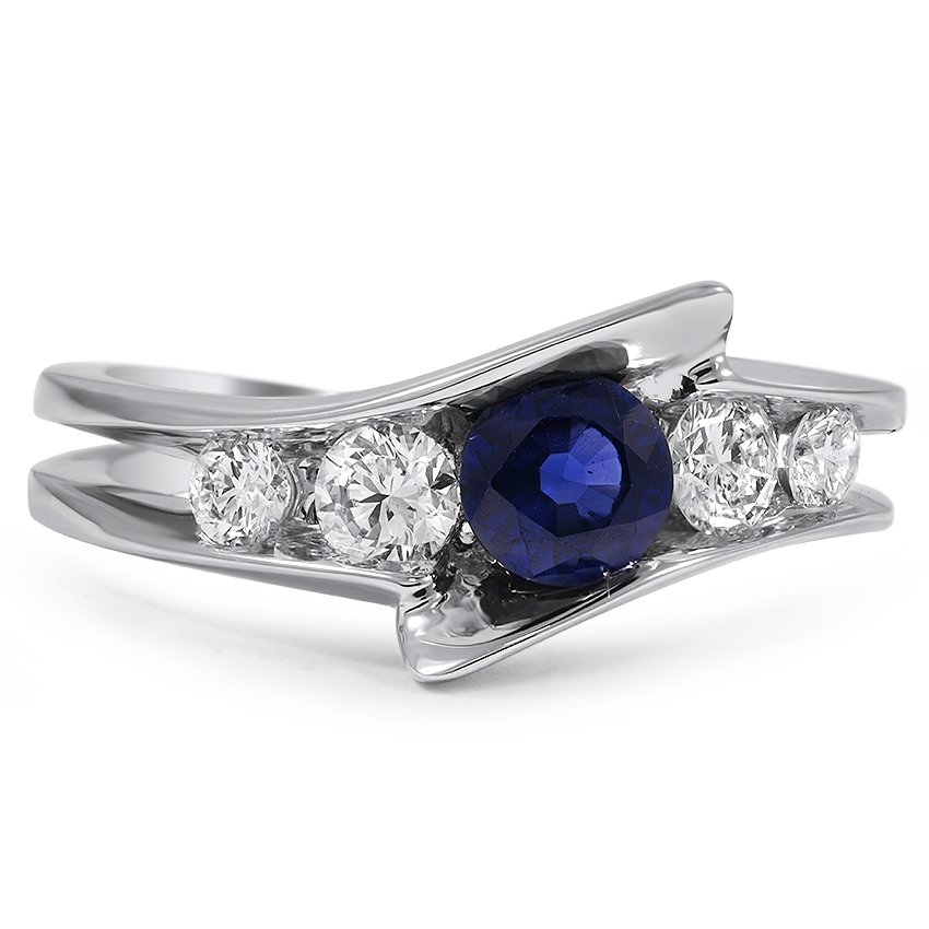 Custom Modern Bypass Shank Sapphire and Diamond Ring