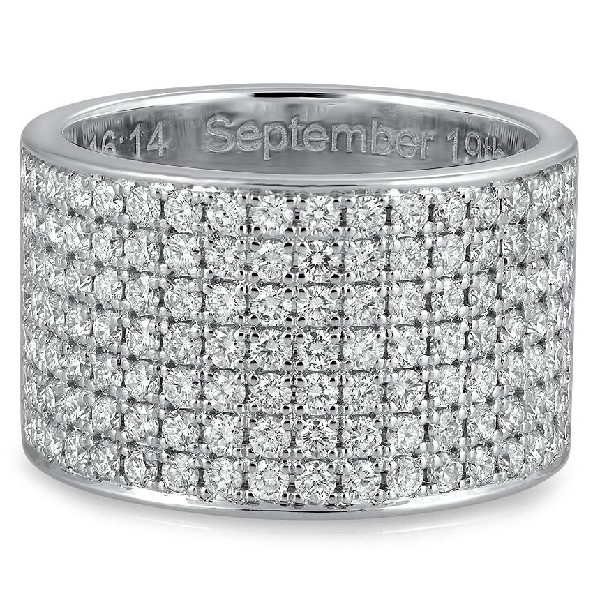 Custom Seven Row Split-Prong Diamond Ring