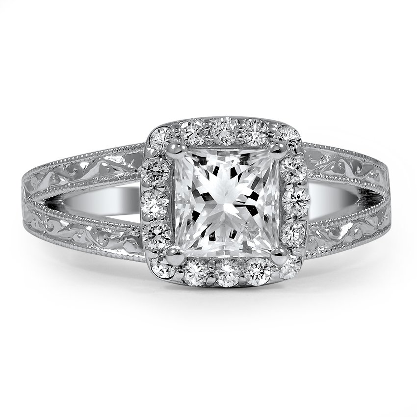 Custom Split-shank Adorned Halo Diamond Ring