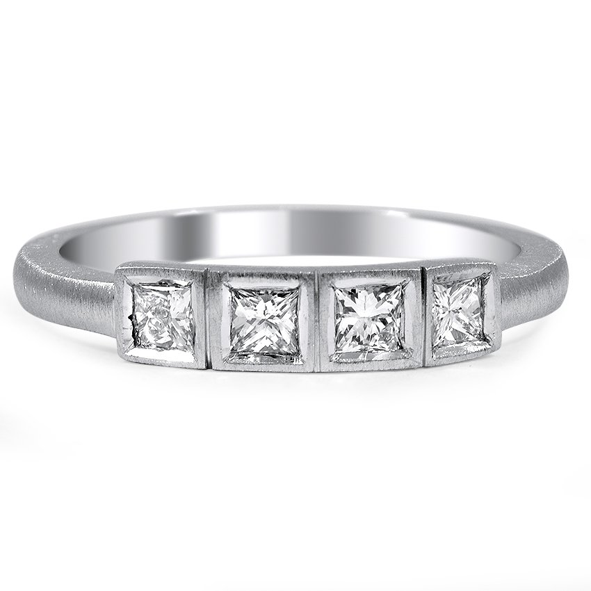Custom Brushed Princess Diamond Wedding Ring