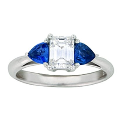 Three Stone Diamond and Sapphire Ring, top view