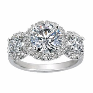 Three Stone Diamond Halo Ring, top view