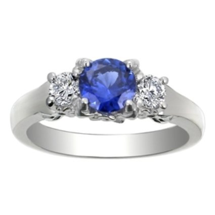 Three Stone Sapphire & Diamond Bouquet Ring, top view