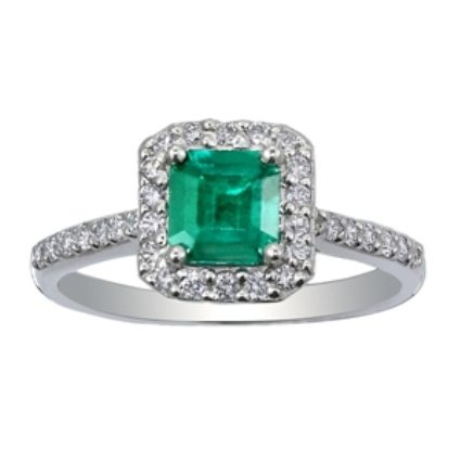 Fancy Diamond & Emerald Halo Ring, top view