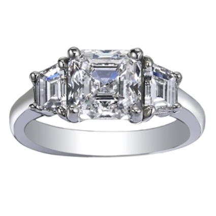 Three Stone Step-cut Diamond Ring, top view