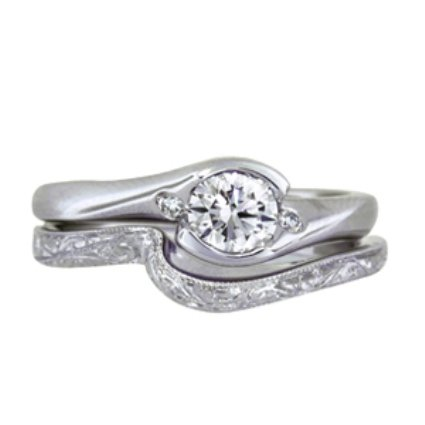 Cascade Ring with Diamond Accents with Hand-Engraved Shadow Band, top view