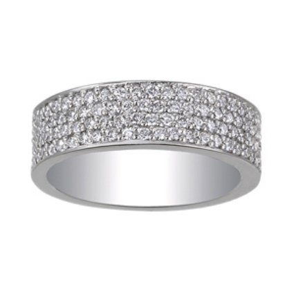 Four Row Pave Diamond Band, top view