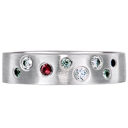 Multi Color Flush-Set Sapphire Ring, top view