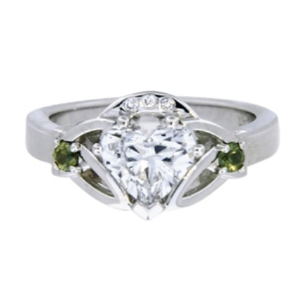 Claddagh Ring with Heart Shaped Diamond Center, large top view