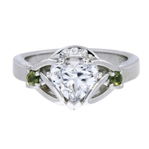 Claddagh Ring with Heart Shaped Diamond Center, top view