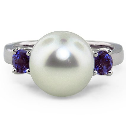 Custom Pearl and Sapphire Trellis Ring