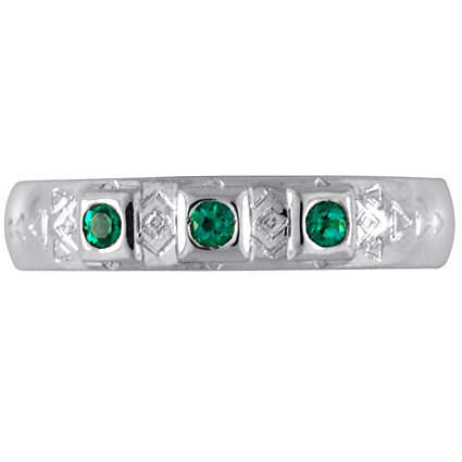 Custom Art Deco Emerald Band