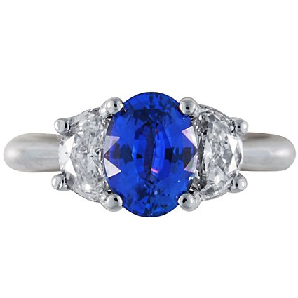 Three Stone Sapphire Ring with Surprise Diamonds, top view