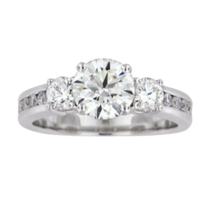 Three Stone Channel Set Round Diamond Ring, top view