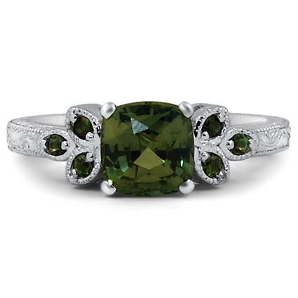 Green Sapphire Leaf Ring, top view
