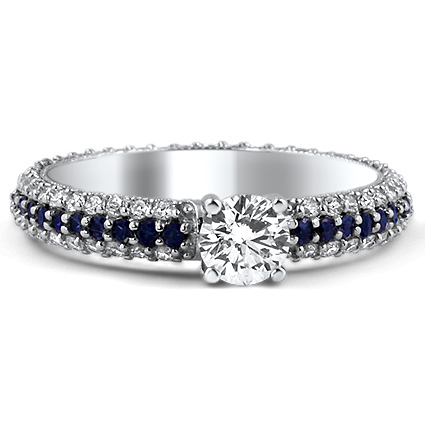 custom ring multi row diamond and sapphire milgrained. Black Bedroom Furniture Sets. Home Design Ideas