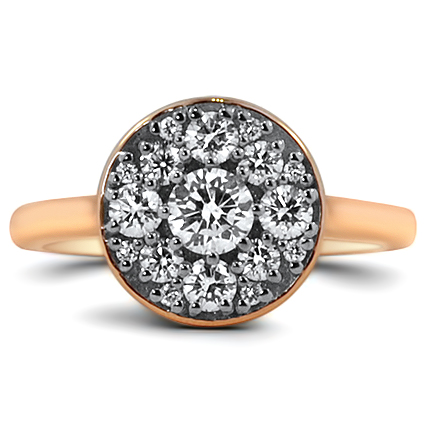 Rose Gold Diamond Cluster Ring, top view