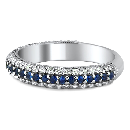 Multi-Row Diamond and Sapphire Band, top view