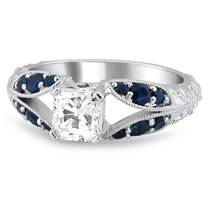Sapphire Accent Split Shank Ring, top view