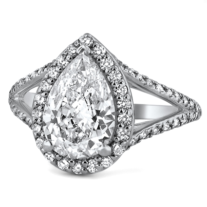 Petite Split Shank Halo Ring, top view