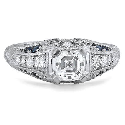 Filigree Diamond Ring, top view