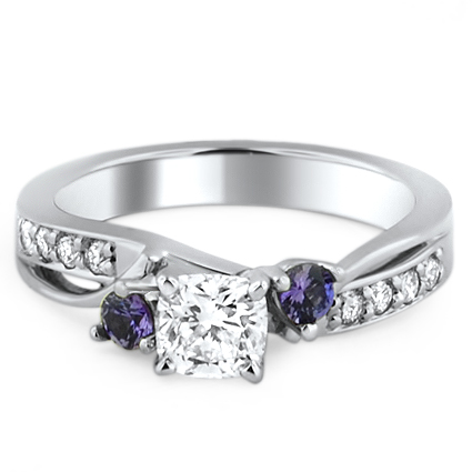 Custom Purple Sapphire Engagement Ring