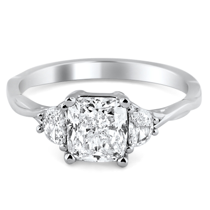 Custom Half Moon Diamond Accent Ring
