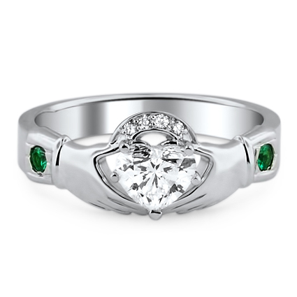 Emerald Accent Claddagh Ring, top view