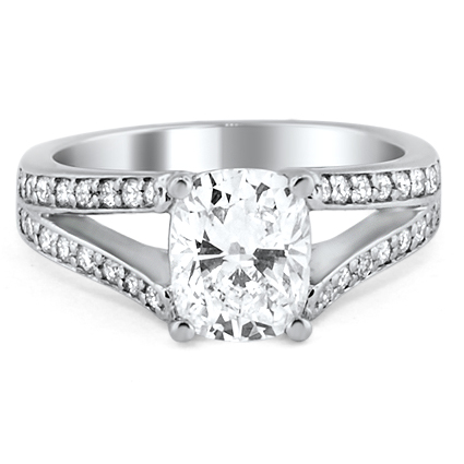 Split Shank Pavé Diamond Ring, top view