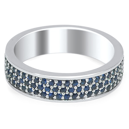 Custom Pave Multi-Row Sapphire Wedding Band